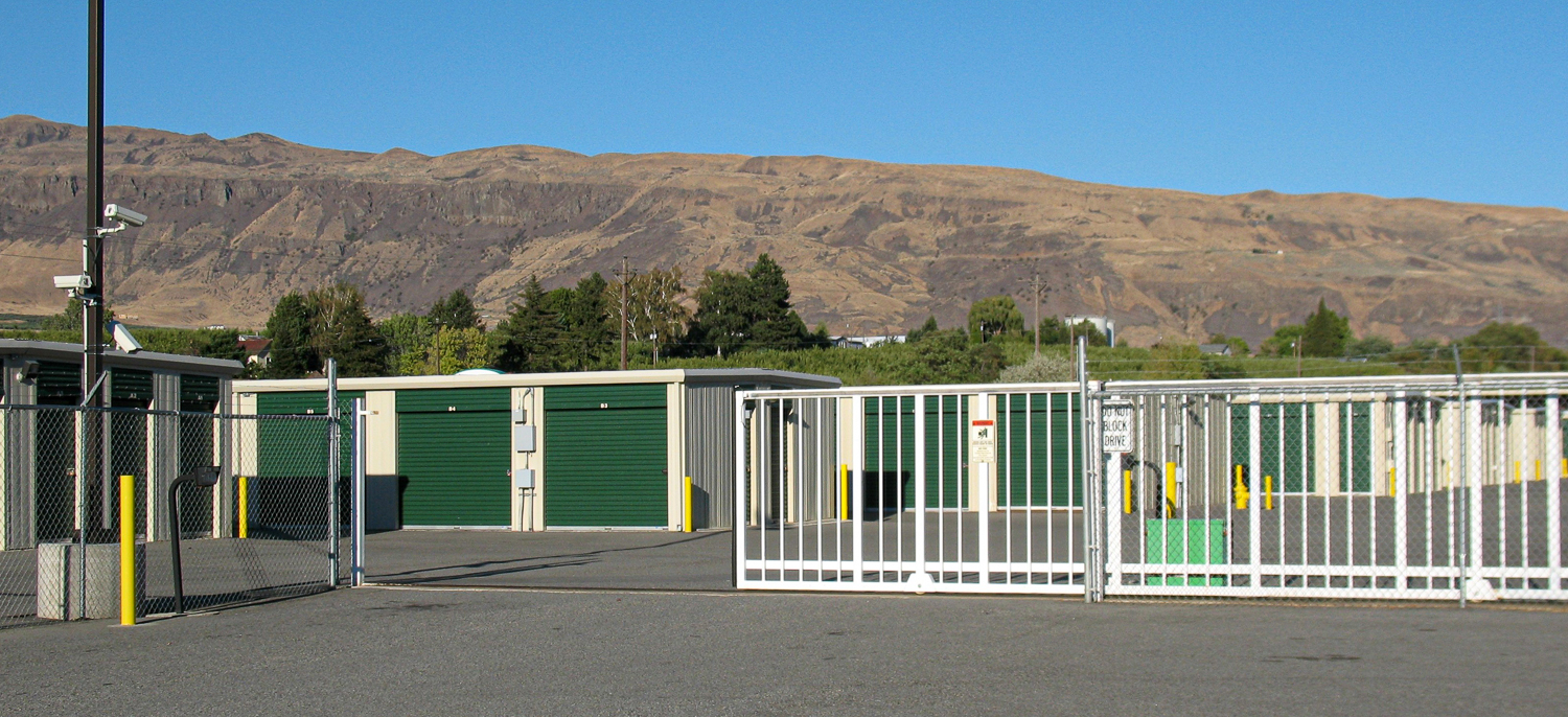 gate entrace at EZ Access Storage during the day