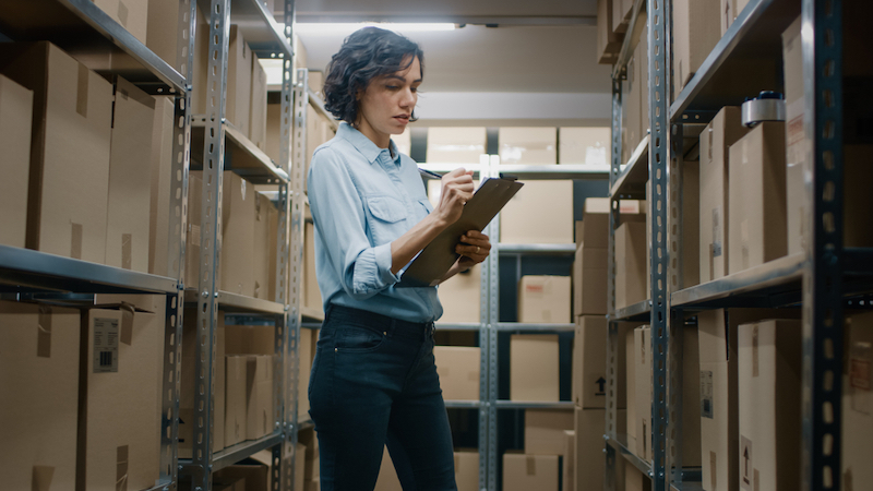 Wenatchee business woman tracking inventory in a storage unit